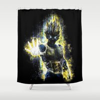 vegeta Shower Curtains featuring The Prince of all fighters by Barrett Biggers