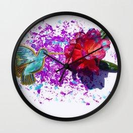 Rhododendron Hummingbird Wall Clock