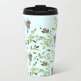 Geometric Nature with Birds Pattern (blue tit and goldcrest) Travel Mug