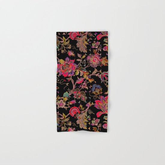 ancient floral on black background Hand & Bath Towel