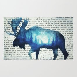 Double Exposure Moose | Night Sky Forest | Trees | Book Page | Vintage Art Rug