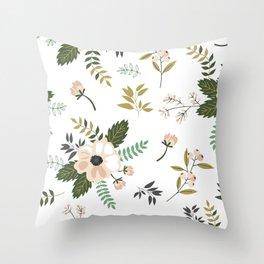 Winter floral - snowy blush petals Throw Pillow