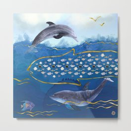 Dolphins Hunting Fish - Surreal Seascape Metal Print
