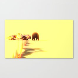 Car with fireline and russian bear Canvas Print