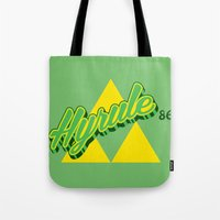 hyrule Tote Bags featuring Hyrule by Head Glitch