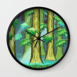 Forest of Pixels Wall Clock