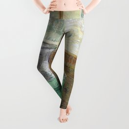 Drinking Absinthe Aperitifs in a Paris Cafe with Vincent still life portrait by Vincent van Gogh Leggings