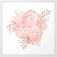 Roses Rose Gold Glitter Pink by Nature Magick Art Print