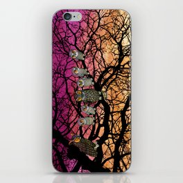 great horned owls at sunset iPhone Skin