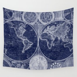 World Map (1794) Blue & White Wall Tapestry