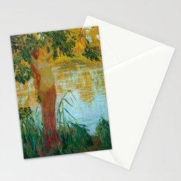 Nymphe près d'une pièce d'eau by Gaston La Touche - French Post-Impressionism Stationery Cards