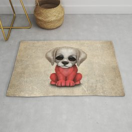 Cute Puppy Dog with flag of Poland Rug