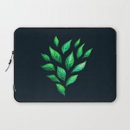 Dark Abstract Green Leaves Laptop Sleeve