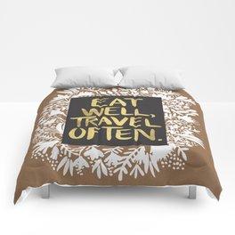 Eat Well, Travel Often (on Kraft) Comforters