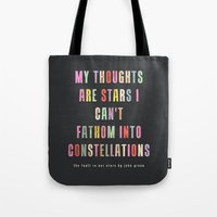 constellations Tote Bags featuring Constellations by Sarah Turbin