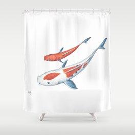 Koi Fish Pair, Watercolor Painting Shower Curtain
