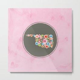 Oklahoma Watercolor Flowers on Pink and Gray Metal Print