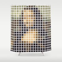 mona lisa Shower Curtains featuring Mona Lisa by Alisa Galitsyna