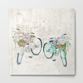 Vintage Bicycles With a City Background Metal Print