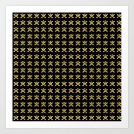 Digital Rendering of Pre-Columbian Pectoral Pattern in Gold Leaf on Black Art Print