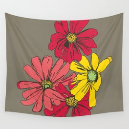 Grey Flowers Wall Tapestry