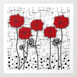Poppies red n white background . Art Print