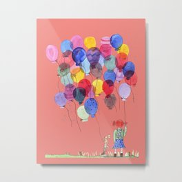 Girl with balloons whimsical illustration with a coral pink background Metal Print