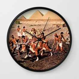Classical Masterpiece Egyptian Farmers & Giza Pyramids by Herbert Herget Wall Clock