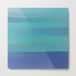 Impressions in Teal and Blue Metal Print