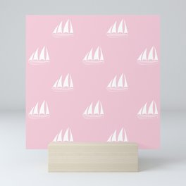 White Sailboat Pattern on pink background Mini Art Print