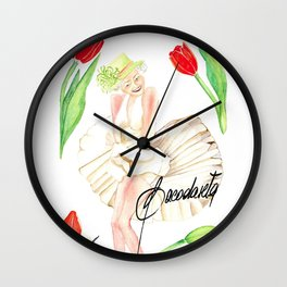 God save the Queen and the tulips Wall Clock