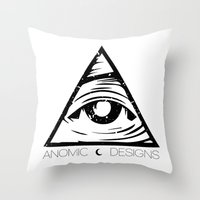 all seeing eye Throw Pillows featuring ALL SEEING EYE  by ANOMIC DESIGNS