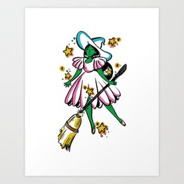 Green Galaxy Witchy Art Print