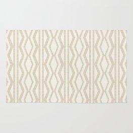 Pastel White Cream Linen Geometric Pattern Rug