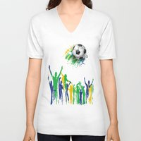world cup V-neck T-shirts featuring World Cup Fever by Robin Curtiss
