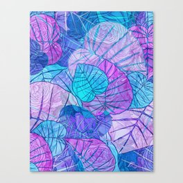 Leaves in Rosy Background Canvas Print