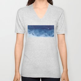 house in mountains, blue Unisex V-Neck