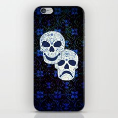 Comedy-Tragedy Sugar Skulls Cyan iPhone & iPod Skin