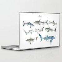 sharks Laptop & iPad Skins featuring Sharks by Amy Hamilton