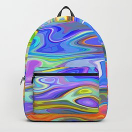 Colorful tie dye wavy shapes Backpack