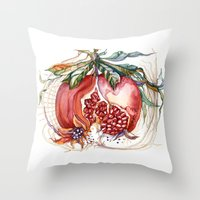 pomegranate Throw Pillows featuring Pomegranate by Irina Vinnik