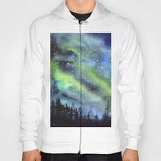 Galaxy Nebula Watercolor Northern Lights Aurora Borealis Hoody