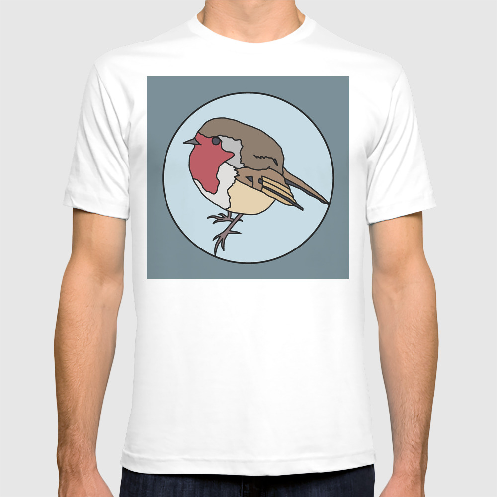 Robin - Robin Redbreast (blue) T-shirt by Mothpathtags (TSR8922183) photo