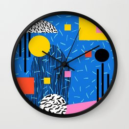 Crank - 80s retro throwback minimal abstract painting memphis style trendy vibes all day Wall Clock