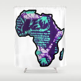 Purple blue Africa Map Shower Curtain