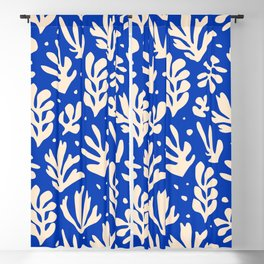 matisse pattern with leaves in blu Blackout Curtain