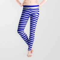 stripes Leggings featuring Horizontal Stripes (Blue/White) by 10813 Apparel