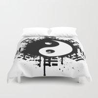 yin yang Duvet Covers featuring Yin Yang by Emir Simsek