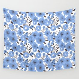 Blue flowers pattern 4 Wall Tapestry