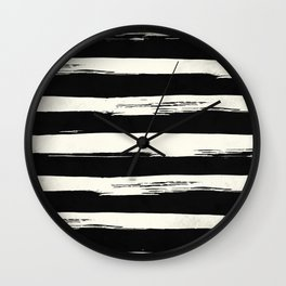 Trendy Black + Cream Stripes Wall Clock
